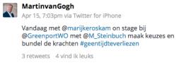 Twitterbericht Martin van Gogh