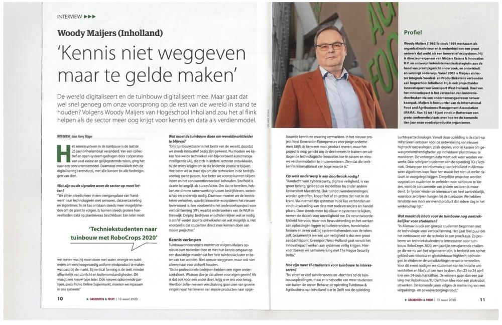 Interview over bevorderen van innovatiekracht van het tuinbouwcluster