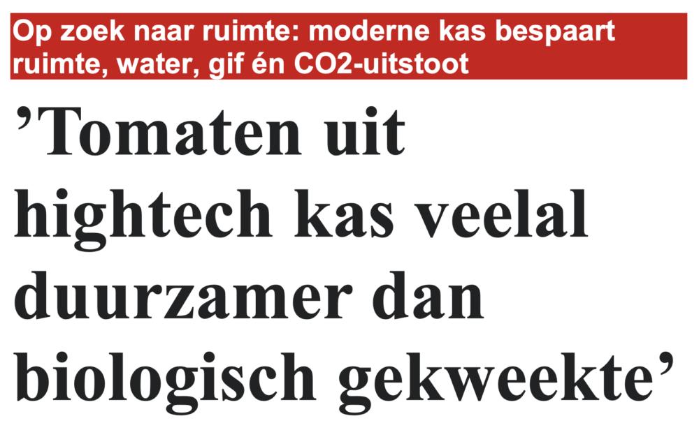 Aandacht in Telegraaf voor duurzame glastuinbouw